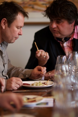 John Lethlean and Matt Preston eating Moondarra Wagyu Carpaccio prepared by Briggete Haffner.